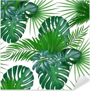 Pixerstick Sticker Naadloze hand getekend realistische botanische exotische vector patroon met groene palmbladeren geïsoleerd op een witte achtergrond.