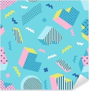 Pixerstick Sticker Naadloze kleurrijke oude school geometrische blauwe achtergrondpatroon, memphis ontwerpstijl. vectorillustratie