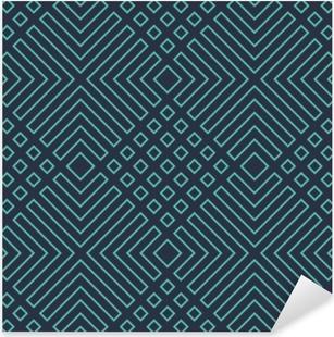 Pixerstick Sticker Naadloze neon blauwe diagonale art deco geometrische schetsen patroon vector