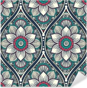 Pixerstick Sticker Naadloze patroon met etnische mandala sieraad. hand getrokken vectorillustratie