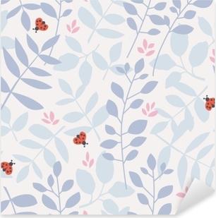 Pixerstick Sticker Naadloze patroon met verschillende bladeren en lieveheersbeestjes