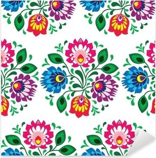 Pixerstick Sticker Naadloze traditionele bloemmotief uit Polen op wit