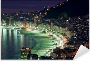 Pixerstick Sticker Nacht uitzicht van Copacabana strand. Rio de Janeiro