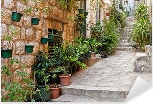 Narrow street with greenery in flower pots on the floor Pixerstick Sticker