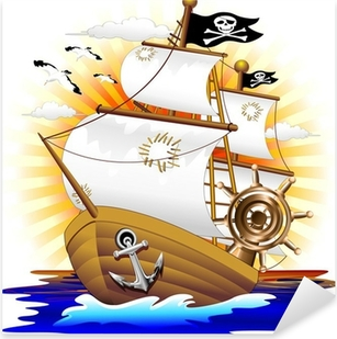 Nave Pirata Cartoon Pirate Ship-Vector Pixerstick Sticker