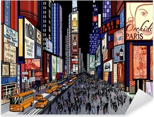 New York - night view of times square Pixerstick Sticker