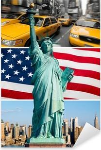 Pixerstick Sticker New York, statue de la liberte, taxi, horizon