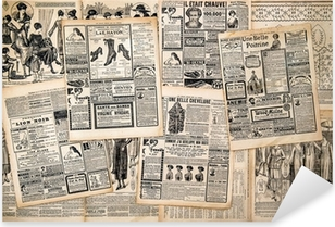 Newspaper pages with antique advertising Pixerstick Sticker