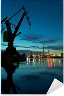 Night in shipyard of Gdansk, Poland. Pixerstick Sticker