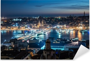 night Istanbul Galata bridge Bosphorus Pixerstick Sticker