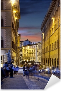 Night streets of Florence, Italy Pixerstick Sticker