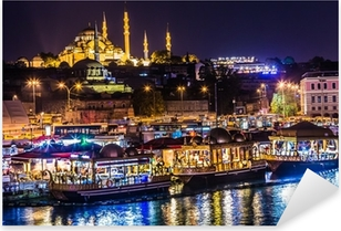 Night view on the restaurants at the end of the Galata bridge, S Pixerstick Sticker
