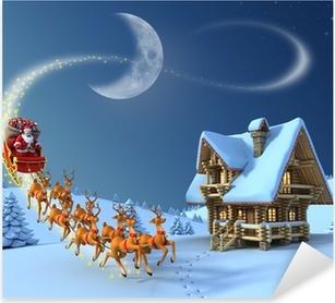 Sticker Pixerstick Noël Scène de nuit - Santa Claus promenades en traîneau de rennes