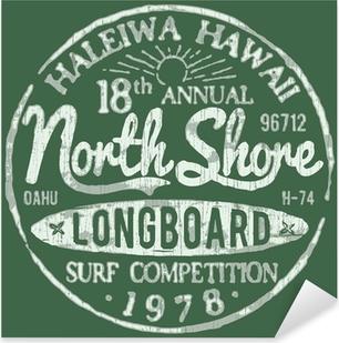 North Shore Surf Themed Vintage Design Pixerstick Sticker