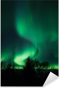 Northern lights above lagoon in Iceland Pixerstick Sticker
