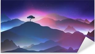 Sticker Pixerstick Nuit étoilée dans les montagnes avec un arbre solitaire - illustration vectorielle.