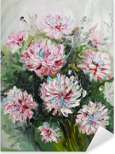 oil painting bouquet of peony flowers Pixerstick Sticker