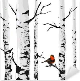Sticker Pixerstick Oiseau de bouleaux, dessin vectoriel avec des éléments modifiables.