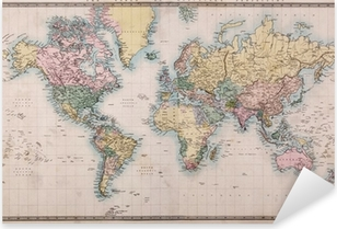Old Antique World Map on Mercators Projection Pixerstick Sticker