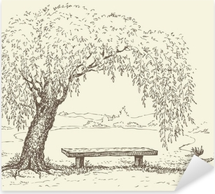Old bench under a willow tree by the lake Pixerstick Sticker