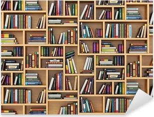 Pixerstick Sticker Onderwijs concept. Boeken en handboeken over de boekenplank.