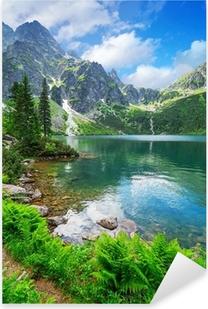 Pixerstick Sticker Oog van de zee meer in Tatra gebergte, Polen