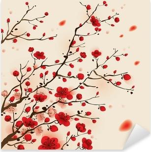 Pixerstick Sticker Oosterse stijl schilderen, pruim bloesem in het voorjaar