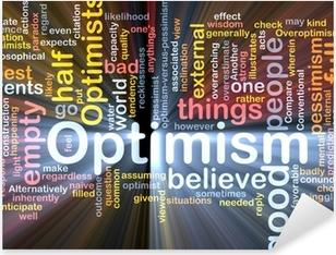 Pixerstick Sticker Optimisme woordwolk gloeiende