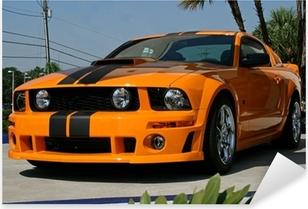 orange american muscle car Pixerstick Sticker