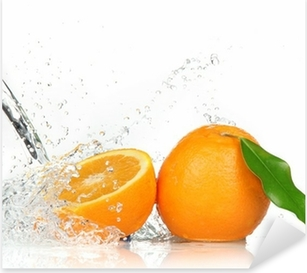 Orange fruits with Splashing water Pixerstick Sticker