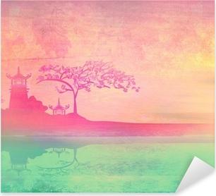 Pixerstick Sticker Oud papier met Aziatische landschap