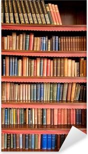 Pixerstick Sticker Oude boekenplank met rijen van boeken in oude bibliotheek