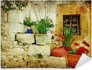 Pixerstick Sticker Oude dorpen van Griekenland - artistieke retro stijl