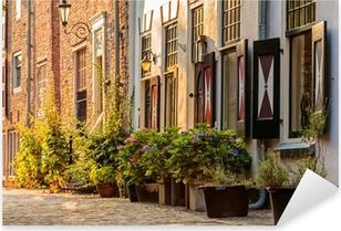 Pixerstick Sticker Oude huizen in het historische centrum van de Nederlandse stad Amersfoort