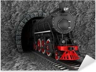Pixerstick Sticker Oude locomotief in tunnel