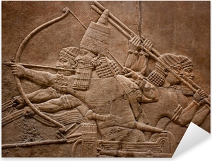 Pixerstick Sticker Oude verlichting van Assyrische krijgers vechten in de oorlog