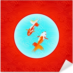 Pair of golfishes over inverted Japanese flag in waves Pixerstick Sticker