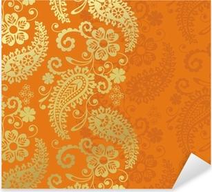 Sticker Pixerstick Paisley motif floral, textile, Rajasthan, Inde royale