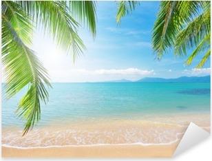 Sticker Pixerstick Palm et plage tropicale