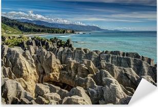 Pixerstick Sticker Pancake Rocks, Punakaiki, West Coast, Nieuw-Zeeland