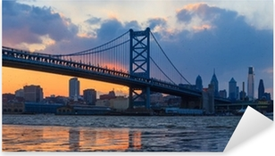 Panorama of Philadelphia skyline, Ben Franklin Bridge and Penn's Pixerstick Sticker