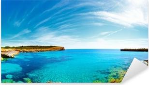 Pixerstick Sticker Panorama van de baai met rotsachtige kusten, Mallorca, Spanje