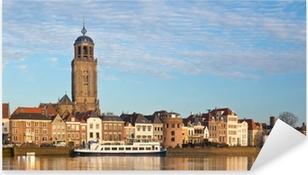 Pixerstick Sticker Panoramisch uitzicht op de middeleeuwse Nederlandse stad Deventer