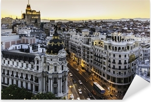 Pixerstick Sticker Panoramisch uitzicht op Gran Via, Madrid, Spanje.
