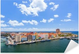 Pixerstick Sticker Panoramisch uitzicht over Willemstad, Curaçao.