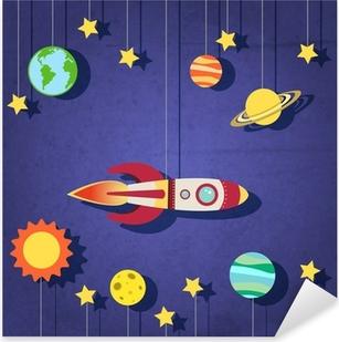Paper rocket in space Pixerstick Sticker