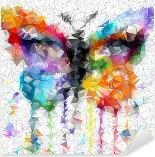 Sticker Pixerstick Papillon lumineux multicolore fond abstrait géométrique