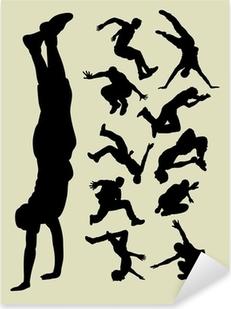 Pixerstick Sticker Parkour silhouetten