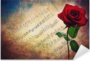 Sticker Pixerstick Partition musicale antique avec une rose rouge