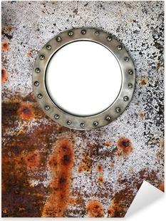 Pixerstick Sticker Patrijspoort frame aan de oude verroeste schip - nautische venster